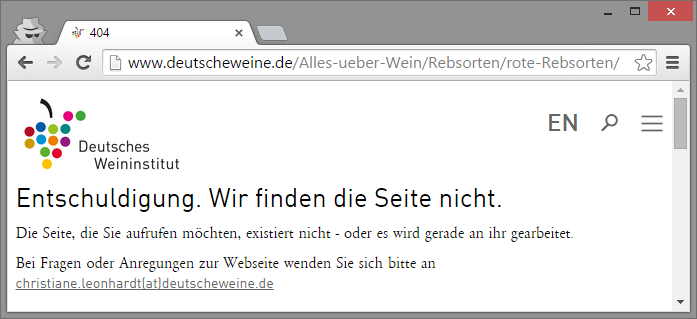 404-Fehlerseite nach Website-Relaunch der Domain deutscheweine.de