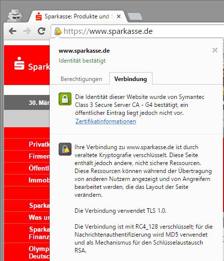 SSL-Zertifikat von sparkasse.de validiert nicht