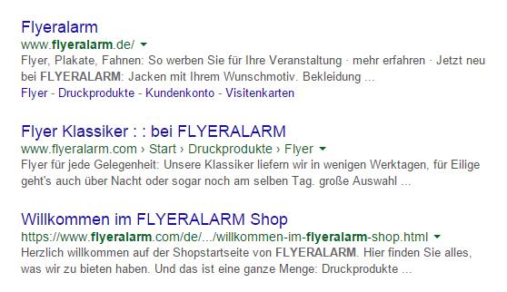 Google-Suche nach dem Markennamen FLYERALARM