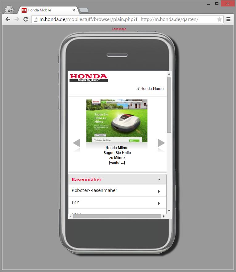 Die mobile Version einer Seite auf dem Desktop aufgerufen