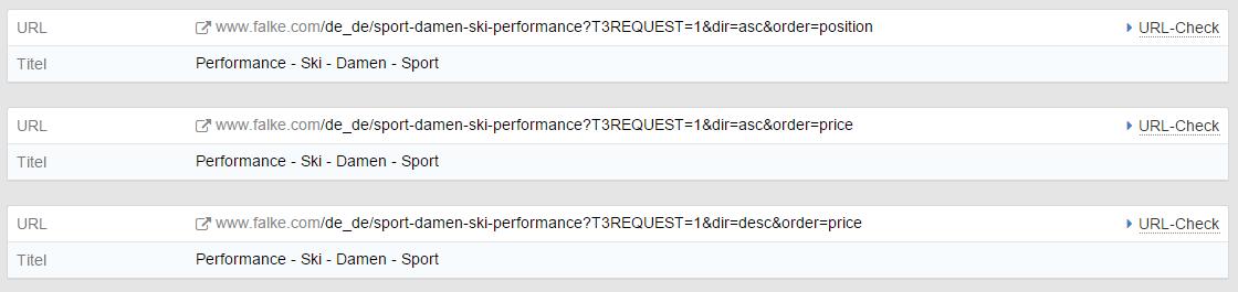 Sehr dynamische URLs der Website falke.com