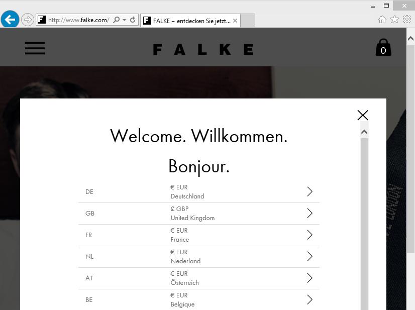 Länderauswahl auf falke.com