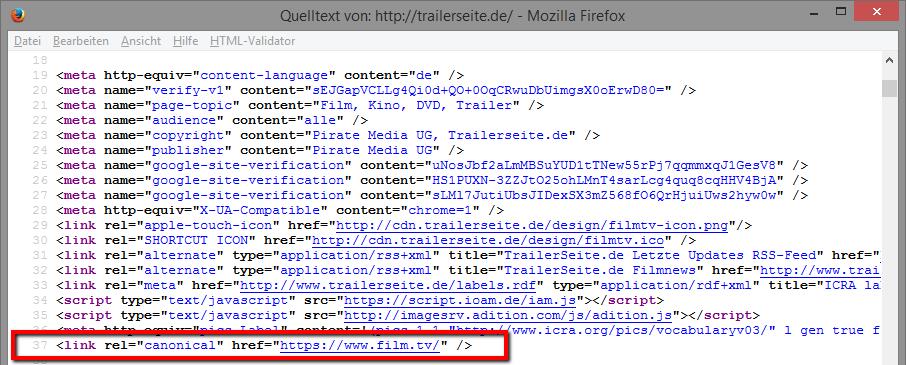 Canonical-Verweis im Quelltext von trailerseite.de auf film.tv
