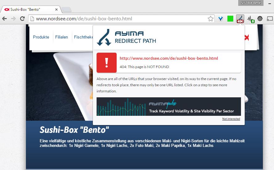 404-Fehler einer Seite mit Inhalt bei der Domain nordsee.com