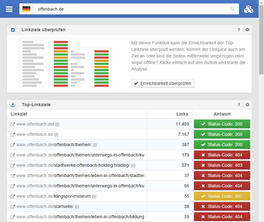 Erreichbarkeitsprüfung der Top-Linkziele im Link-Modul der SISTRIX Toolbox