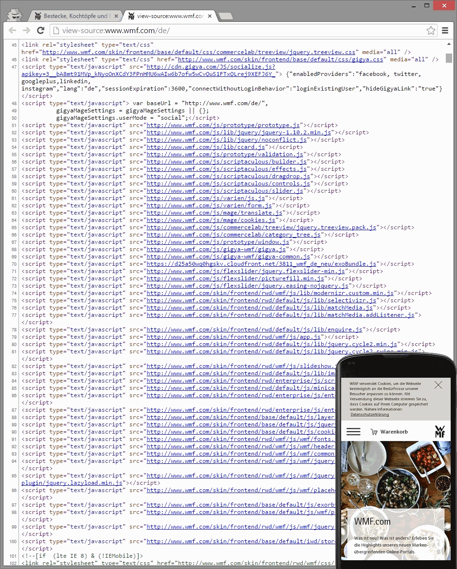 wmf.com blockiert CSS- und JavaScript-Dateien