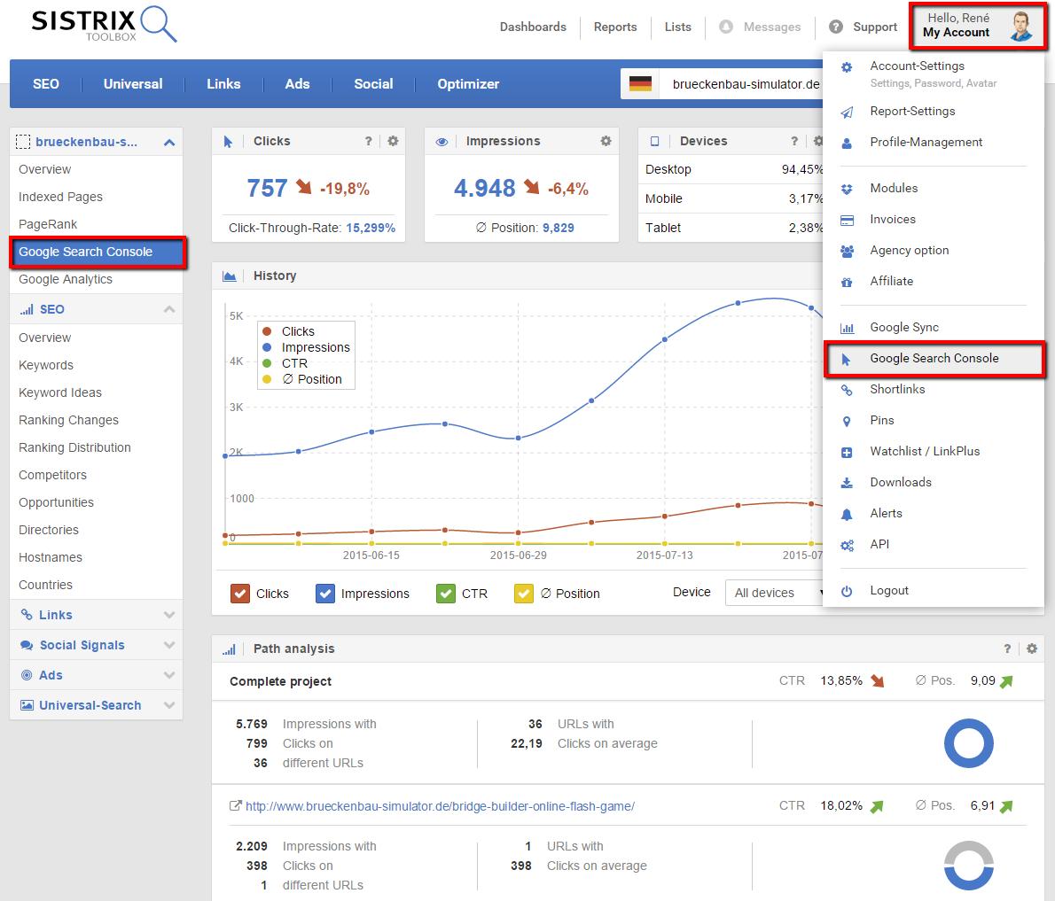 Daten aus der Google Search Console für die eigenen Domains direkt in der SISTRIX Toolbox auswerten.