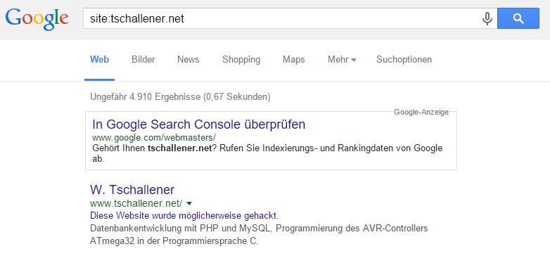 Gehackte Website auf den Suchergebnisseiten markiert