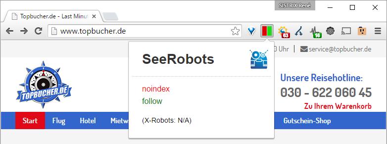 NOINDEX alles URLs der Domain topbucher.de