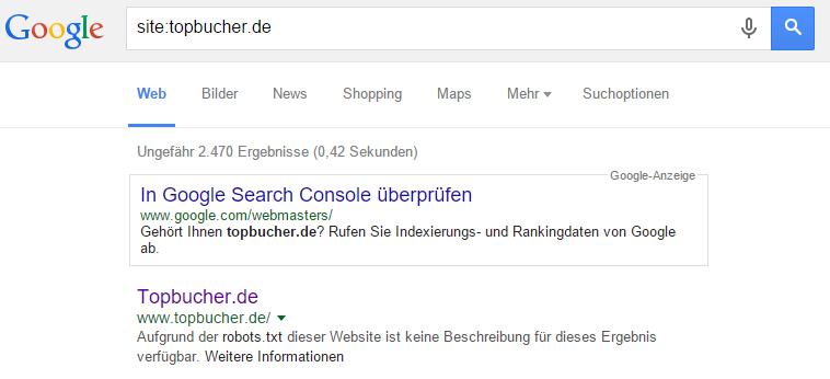Keine Meta-Description aufgrund der robots.txt Datei