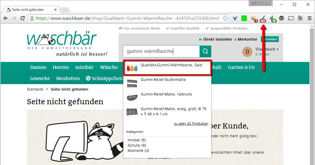 URL der Gummi Wärmflasche liefert einen HTTP-Statuscode 404