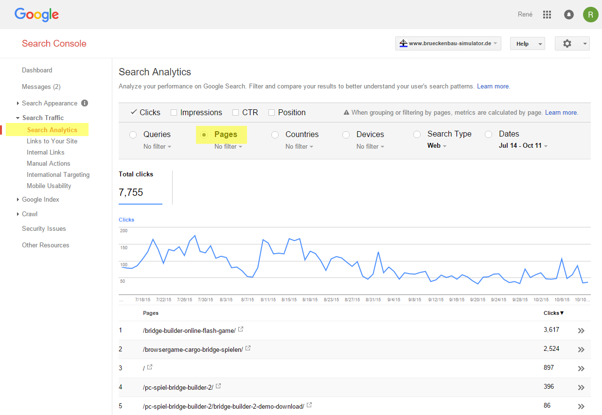 Google Search Console affiches les URLs importantes