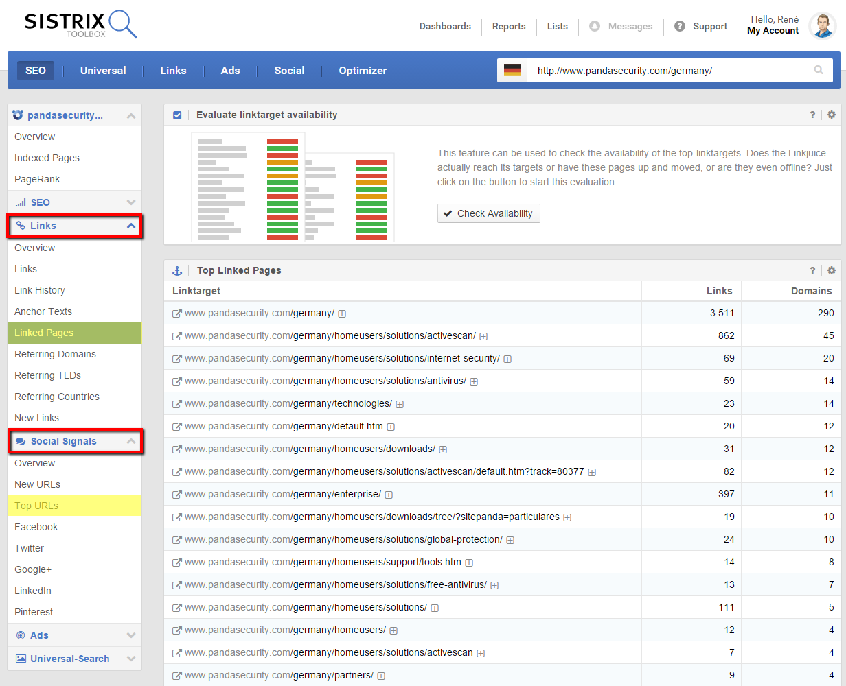 SISTRIX Toolbox shows URLs with important backlinks und numerous social mentions