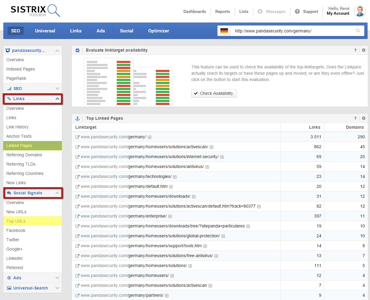 SISTRIX Toolbox affiche les URLs avec des liens retour importants et plusieurs mentions sociaux