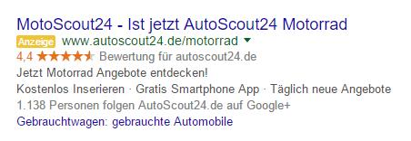 Google AdWords: MotoScout24 ist jetzt AutoScout24 Motorrad
