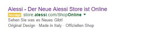 Bezahlte Anzeige für den Alessi-Store