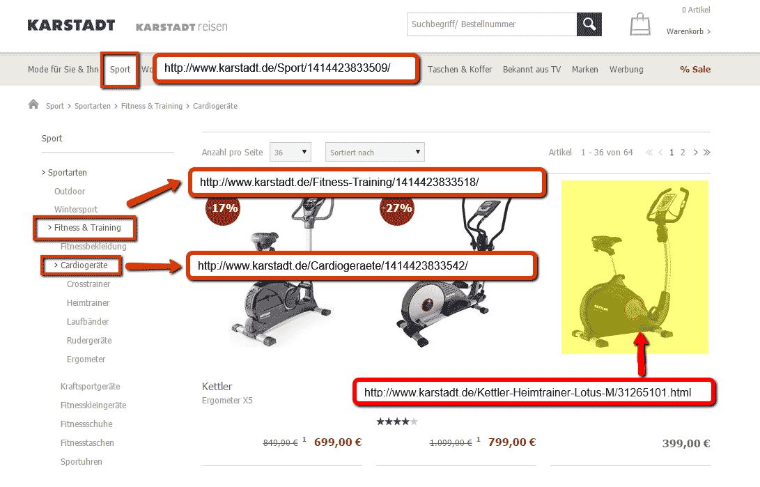Flache URL-Strukturen bei karstadt.de