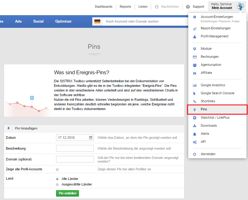 Ereignis-PIN in der SISTRIX Toolbox anlegen