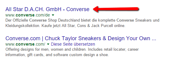 Brand-Search nach Keyword Converse