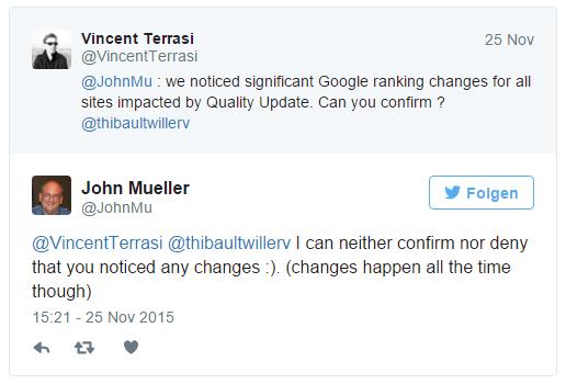 John Müller von Google über Twitter