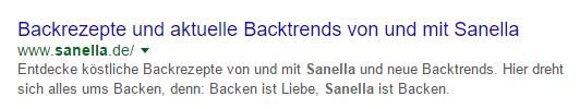 SERP-Snippet der Startseite von sanella.de