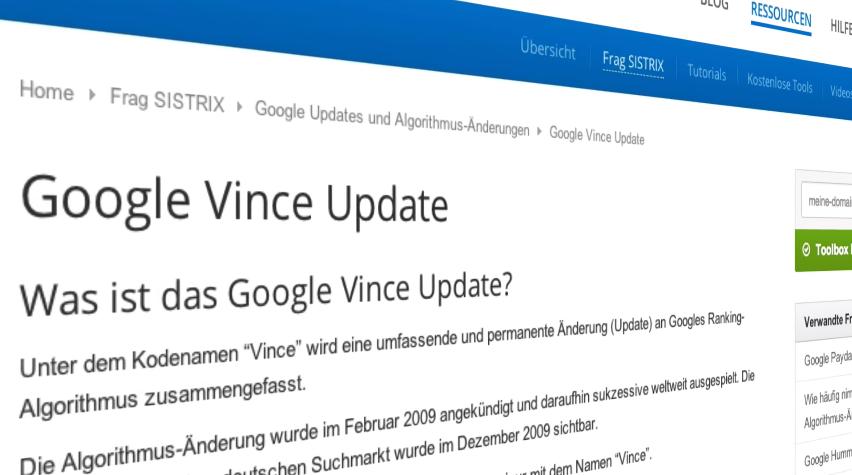 Página del artículo sobre la Google Vince Update en SISTRIX