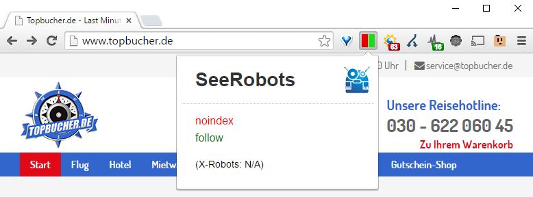 Aufruf einer Webseite bei der das SeeRobots Plugin zeigt, dass ein Noindex auf der Startseite gesetzt wurde.