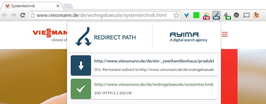 """Nutzung des Browser Plugins """"Ayima Redirect Path"""" welches Weiterleitungen visualisiert."""