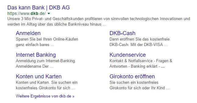 SERP-Snippet zum Keyword DKB