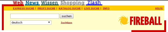 Startseite von Fireball.de im Jahre 2001