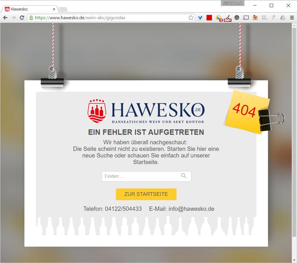 404-Fehlerseite bei Hawesko