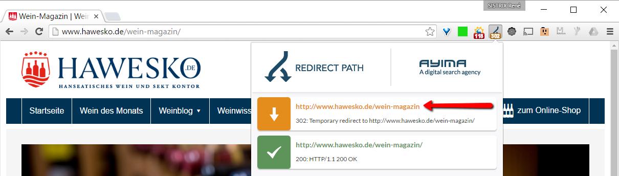 Hawesko Trailing-Slash mit 302-Weiterleitung