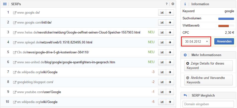 """Google Suchergebnisse für das Keyword """"Google"""" für die Woche vom 30.04.2012"""