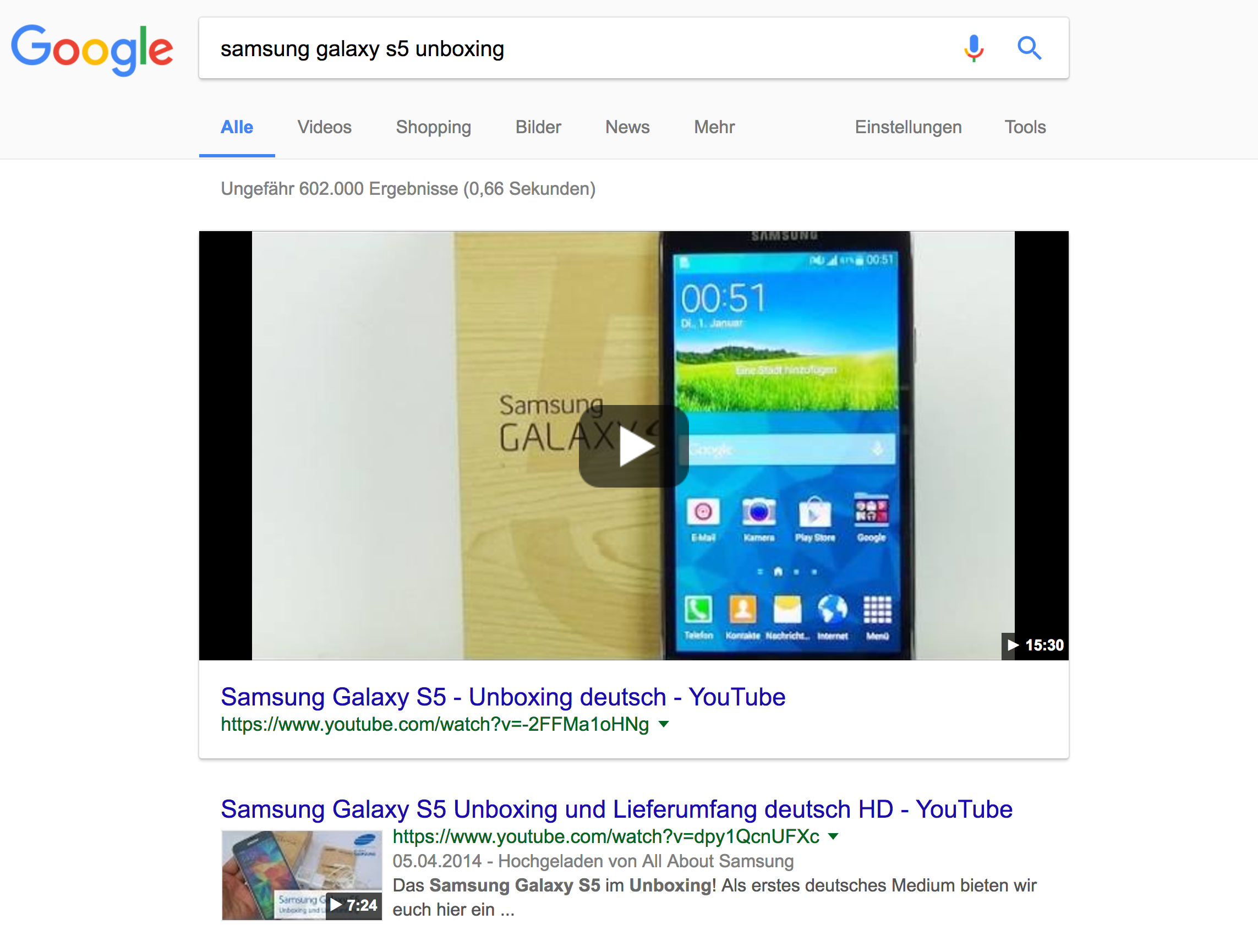 "Featured Snippet bei der Suchanfrage ""samsung galaxy s5 unboxing"""