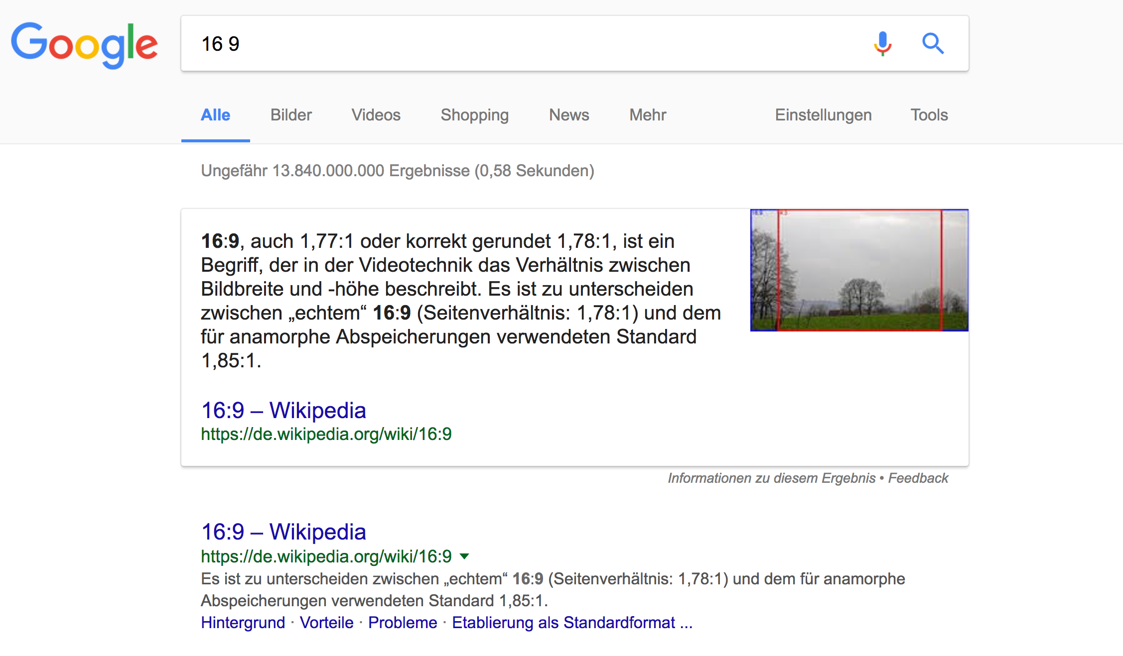 "Featured Snippet bei der Suchanfrage ""16 9"""