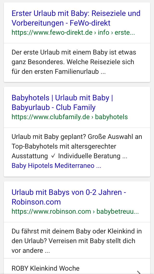 Suchergebnisse Urlaub mit Baby