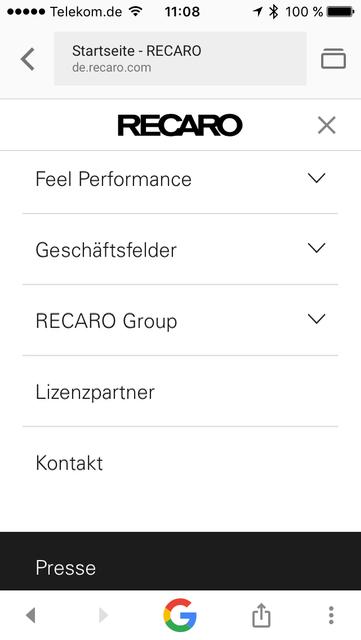 Hauptnavigation de.recaro.com