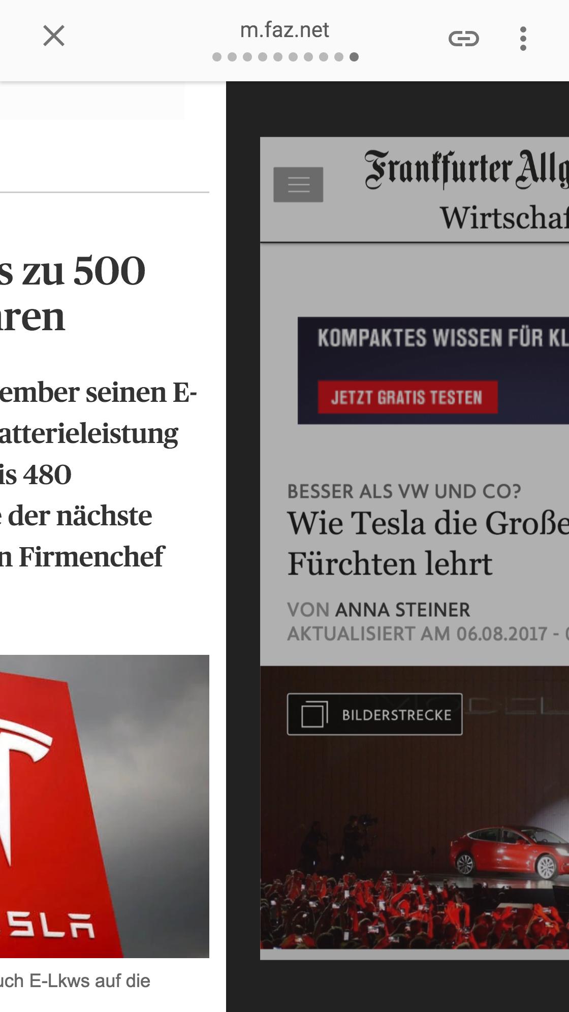 Google AMP-Ansicht zwischen zwei News-Beiträgen verschiedener Publischer durch einen Swipe.