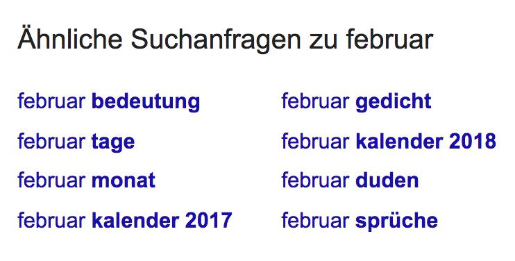 """Die Box """"Ähnliche Suchanfragen zu februar"""" am Ende der Suchergebnisseite enthält im Vergleich zu dem Treffer von ndr.de ganz andere Links."""