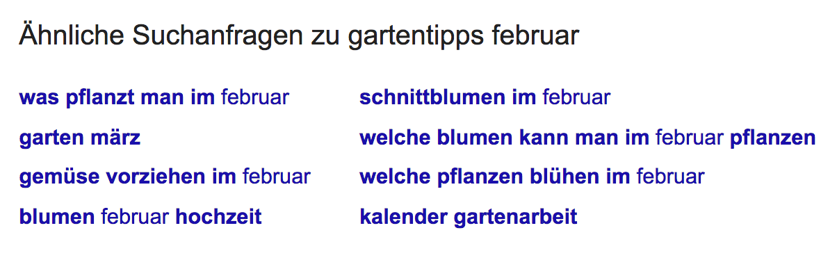 """Ähnliche Suchanfragen zur Suchphrase """"gartentipps februar"""" am Ende der Suchergebnisseite."""