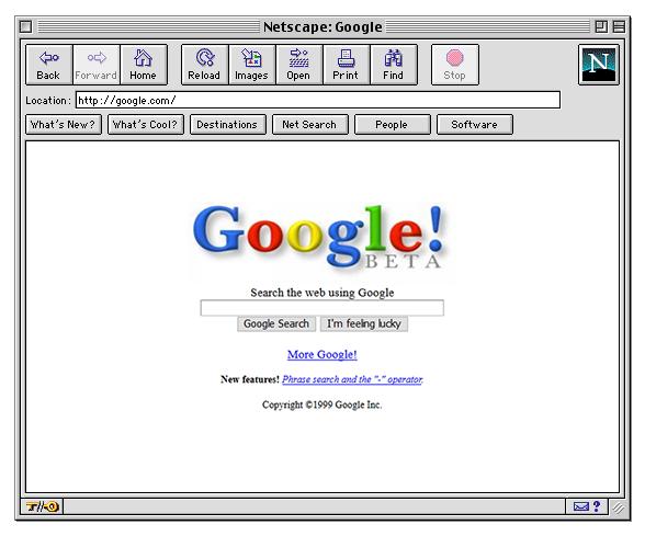 Antigua interfaz de Google.com