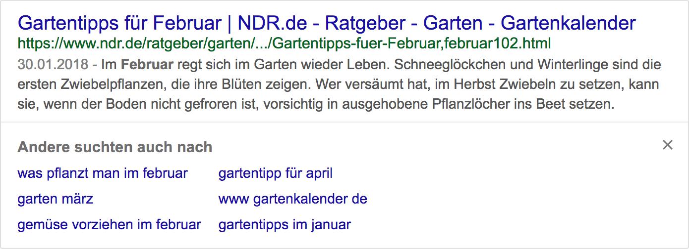 "Beispiel: Short-Click-Box ndr.de für das Keyword ""februar"""