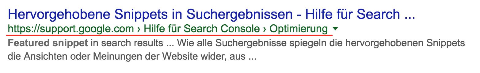 Suchergebnis bei Google für die Information über hervorgehobene Snippets in Suchergebnissen. Anstelle der URL werden die Breadcrumbs angezeigt.