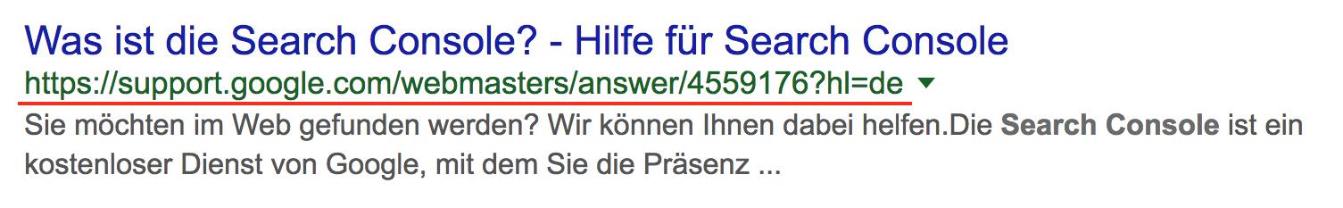 Suchergebnis bei Google für die Frage, was die Search Console ist? Hier zeigt Google regulär die URL des Dokuments an.