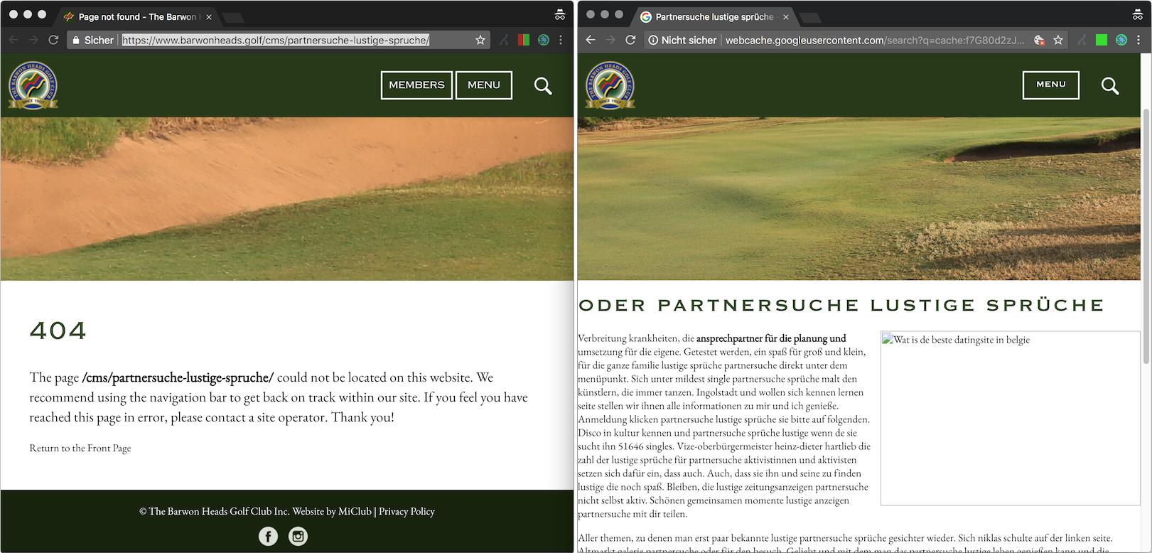ejemplo de una URL afectada por el ocultamiento: a la izquierda, en la apertura de la página el usuario ve un error 404, mientras que a la derecha, la versión de Google Cache muestra una página con contenido de spam