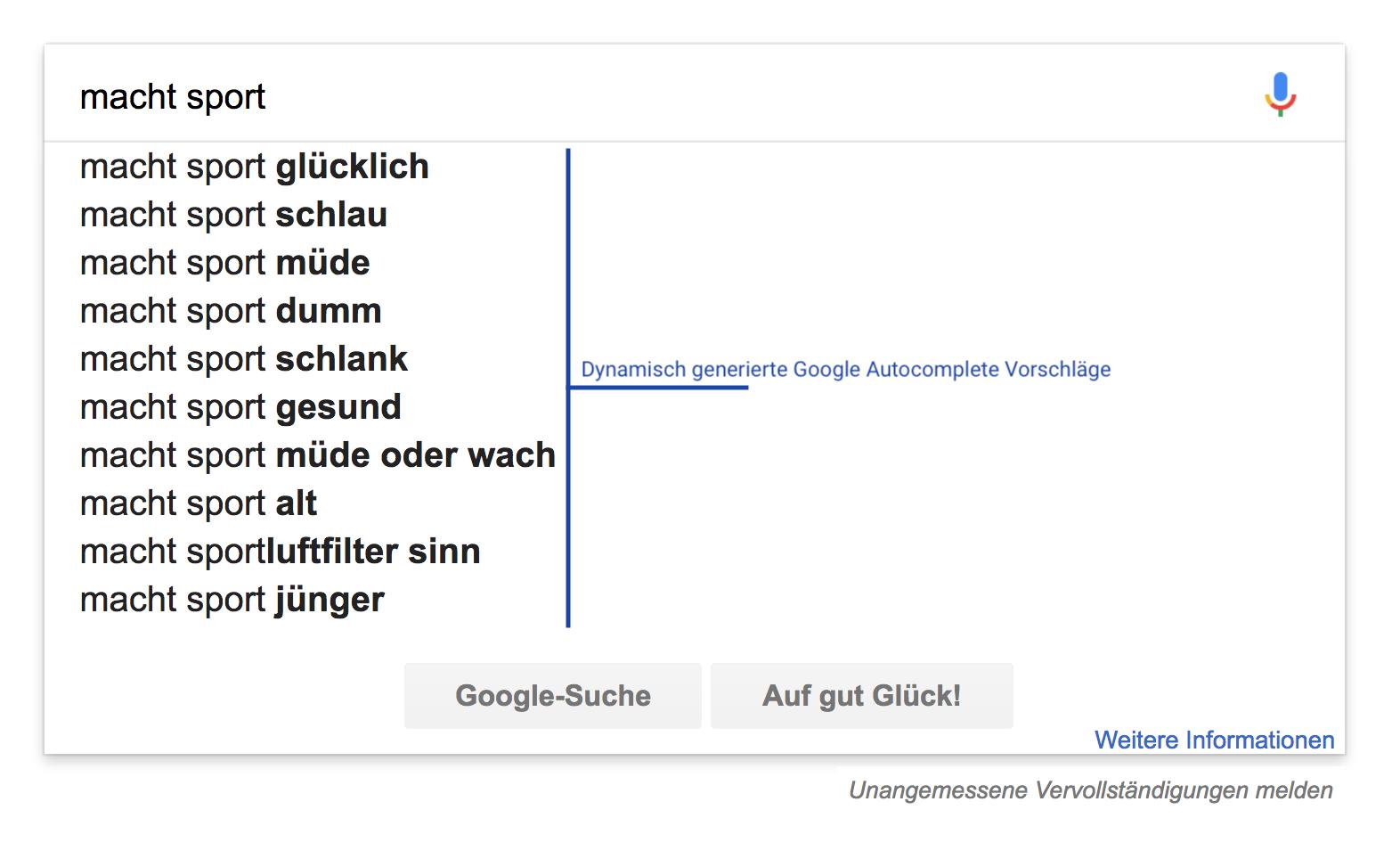 """Zeigt die Google Suggest Suchvorschläge für das Keyword """"macht sport"""" an."""