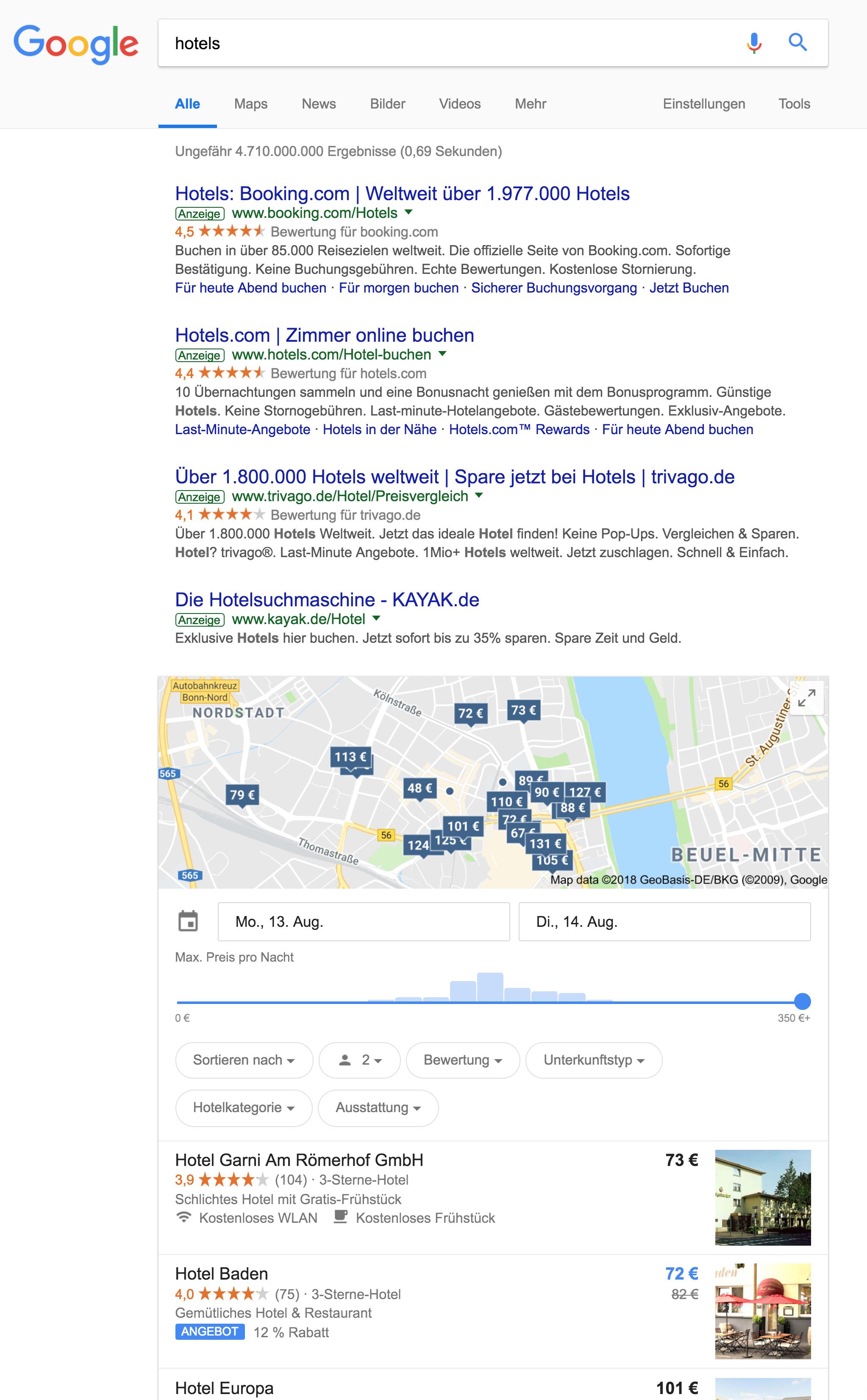 Zeigt die Google Hotelsuche innerhalb der Google Suchergebnisse an.