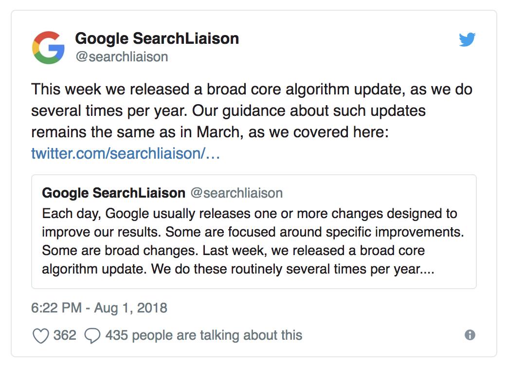 Google confirma una actualización de su núcleo por Twitter el 01.08.18