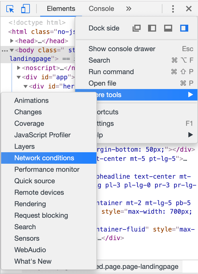 Google Chrome Network Conditions