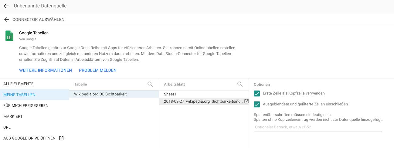Anbindung an das Google Data Studio - SISTRIX
